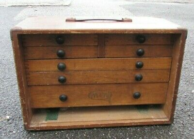Vintage Moore & Wright Toolmakers Wooden Tool Chest Cabinet Box 7 Drawers