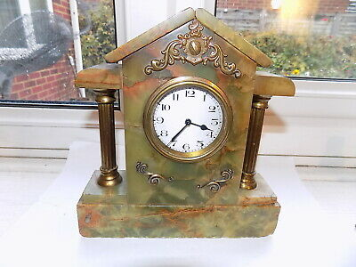 Attractive Small Antique Green Marble Cased Mantel Clock