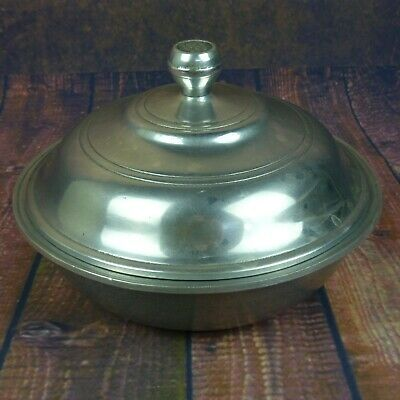 """1973 Vintage Wilton Columbia Armetale  Pewter 8"""" inch Covered Serving Bowl USA"""