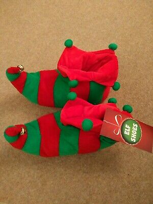 Unisex Adult Elf Red & Green Christmas Slippers Shoes Non Slip Soles New UK 5-6