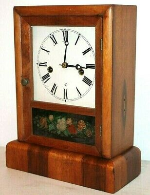 Antique 1870'S Waterbury Federal Cottage Shelf Clock W/ Reverse Painted Glass
