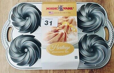 Genuine Nordicware Heritage Mini Bundt Tin Pan Christmas,Brand New in Packaging