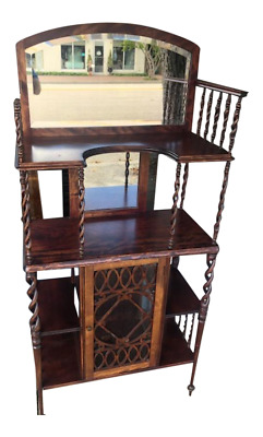 Antique Mahogany Candy Twist Cabinet Bookshelf
