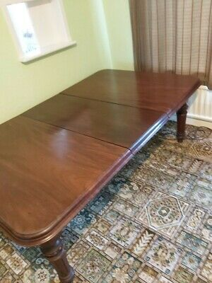 Victorian Mahogany Wind Out Dining Table with Brass Castors and Two Leaves