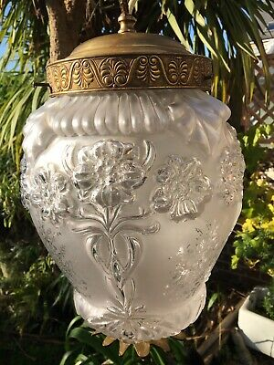 Antique  dome french Acid-Etched moulded glass and ormolu light lamp