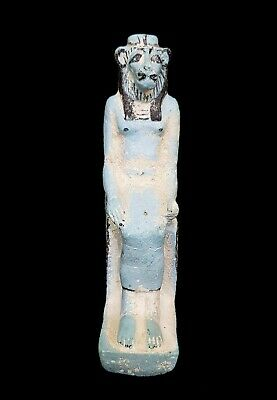 Rare Sekhmet Ancient Egyptian Faience Amulet Egypt Antique statue Goddess war