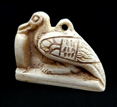 Rare Thoth Amulet Ancient Egypt Faience 300 bc Egyptian Nile Ca Mummy Bead ibis