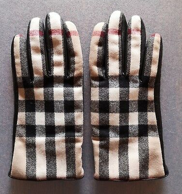 Guanti BURBERRY check cashmere lana pelle 9,5 uomo donna gloves leather wool