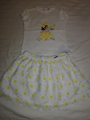 Mayoral Outfit Skirt And T Shirt Top Girls Size Age 8 Beautiful