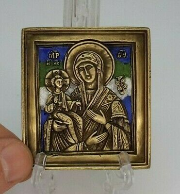 Russian orthodox bronze icon The Virgin of Three Hands. Enameled!