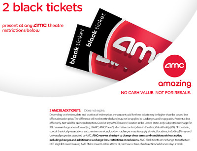 EMAIL DELIVERY - 2 AMC Black Movie Ticket (5 MIN DELIVERY!) - No Expiration Date