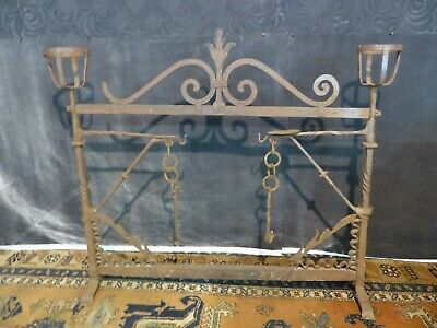 antique 18th century new england hand forged wrought iron fireplace crane front