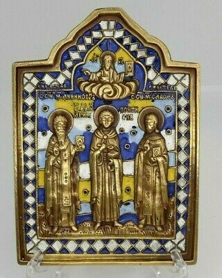 Russian orthodox bronze icon Selected Saints. Enameled.