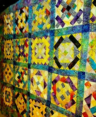 *New* ~**100% Batiks**~ Mystery Of The Substitute Teacher~  Quilt Top