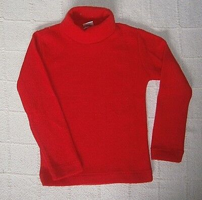 Vintage Ladybird Stretch Fleecy Polo-Neck Jumper - Age 6 - Cherry Red - New