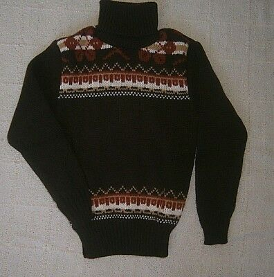 Vintage Polo-Neck Jumper - Age 8 Approx - Brown Chunky-Fair-isle - Acrylic - New
