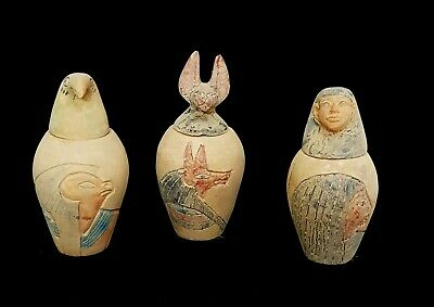Rare Large Canopic Jar Egyptian Antique Horus Anubis shabti W/T Hieroglyphics