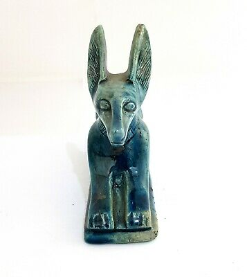 Rare Egyptian Anubis God Statue Figurine Ancient Dog Jackal glazed Afterlife art