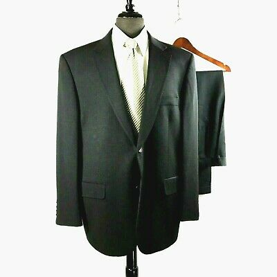 Joseph & Feiss mens black All Season wool suit w pleated cuffed pants 44S to 46S