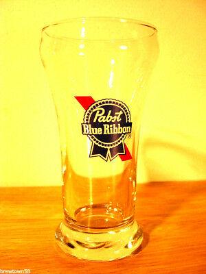 Pabst beer glass Blue Ribbon pilsner bar drink vintage 7 oz New Nos brewery PBR