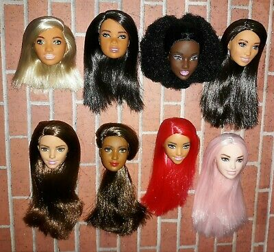 COLORS! OOAK Barbie Fashionista DOLL HEADS ONLY COMBO Lot of 8 Afro Pink Hair AA
