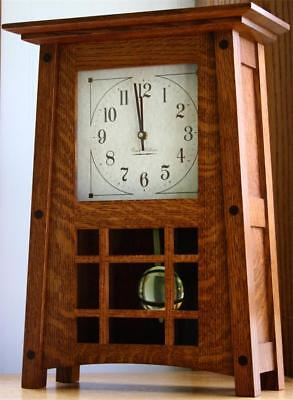 McCoy Mantle Clock Amish Made Solid Quarter Sawn Oak Wood Quartz Dual Chime!