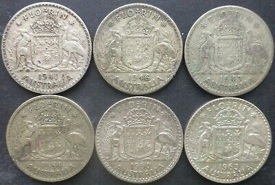 Australian Florin Lot Various Dates