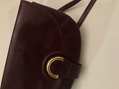 Rodo Italy Vintage Maroon Leather Clutch Bag Gold Clasp removable shoulder strap