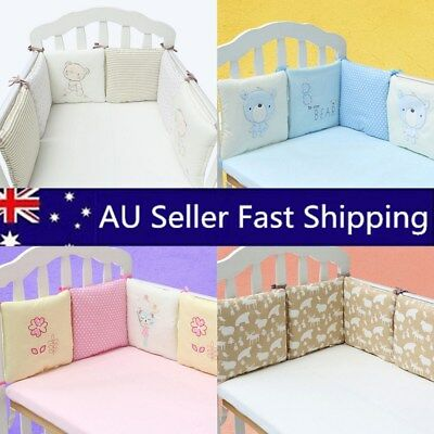 6PCs Baby Crib Bumper Breathable Comfy Cotton Infant Toddler Bed Cot Protector !