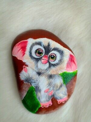 Ooak Hand Painted Cute Gizmo On Natural Rock  Art Deco Paperweight B019