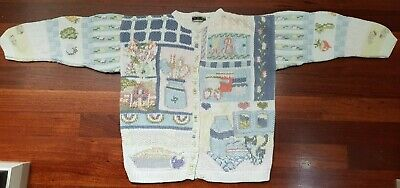 Jump 90's Vintage Cotton Knit Cardigan - Country Garden theme Size S