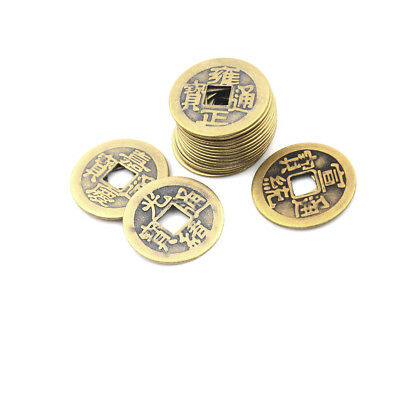 10Pcs Feng Shui Coins 2.3Cm Lucky Chinese Fortune Coin Brass  KM