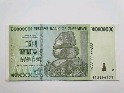 One 10 Trillion Dollar Zimbabwe Note. Used