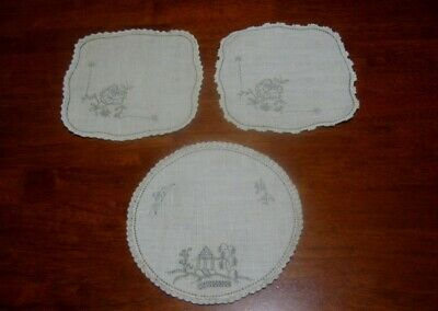 3 Vintage Doilies To Embroider ~ Flowers/Willow Pattern ~ Linen ~ Lace Edged