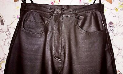 HUDSON LEATHER Co. LADIES DARK BROWN LEATHER TROUSERS UK 12 V.G.C.