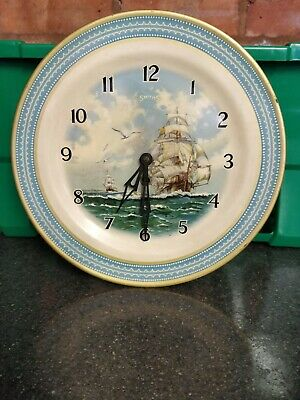 "Vintage Rare 1930""S Smith's Ship Scene Tin Plate Wall Clock Good Working Order"