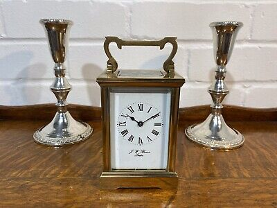 J W Benson Brass Cased Carriage Clock, Serviced.