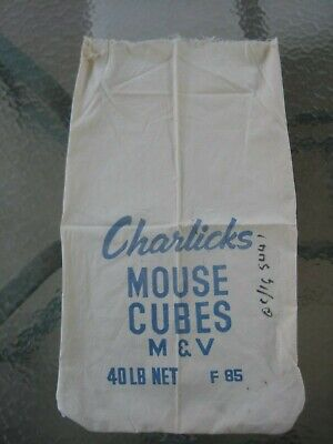 Vintage 1940s Cloth Advertising Flour Bag CHARLICKS MOUSE CUBES 40 LB NET