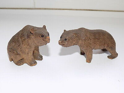 PAIR of ANTIQUE BLACK FOREST SMALL CARVED WOOD BEARS WITH GLASS EYES
