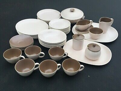 Poole Pottery Tableware Dinner Service Twintone Mushroom and Sepia 51 Pieces