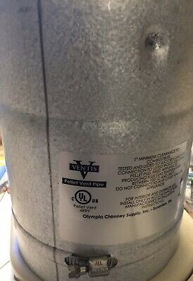 """Olympia Ventis Pellet Vent VPB-0348 3/"""" X 48/"""" Pipe Double Wall S//S Liner Black"""