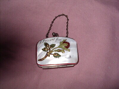 Vintage Mother Of Pearl Souvenir Coin Purse