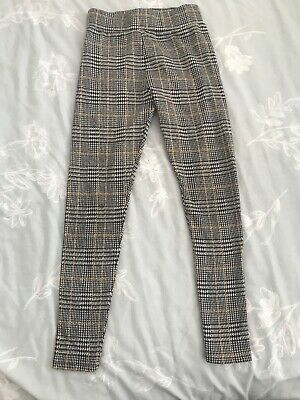 On Trend Mustard Black NEWLOOK girls Leggings / Trousers Age 9 Exc Condition