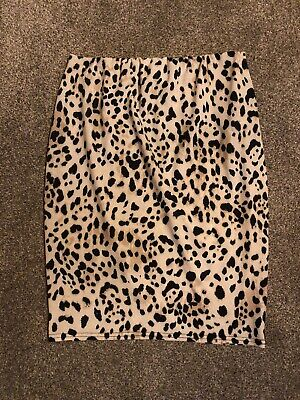 New Look Maternity Leopard Print Skirt Size 10 Over Bump