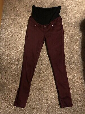 Mothercare Maternity Maroon Over Bump Jeans Size 12 Regular