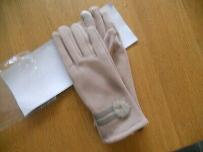 Pair of ladies small beige polyester unbranded gloves