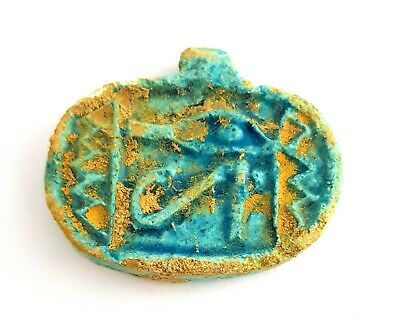 Rare Horus Eye Necklace Pendant Egyptian Ra Charm Udjat Egypt Faience Amulet art
