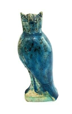 Very Rare Amulet Horus Sculpture Egyptian Antique Bead Falcon Ra Carved Faience