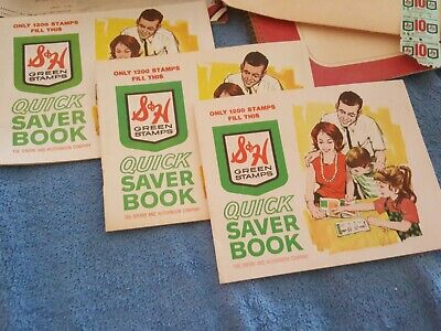 3 Sperry & Hutchinson Company Green Stamps Quick Saver Books+stamps unused excel