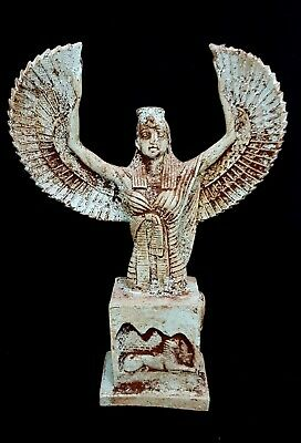 Rare Isis Egyptian Statue Goddess Wings Open Winged Figurine Ancient Kneeling